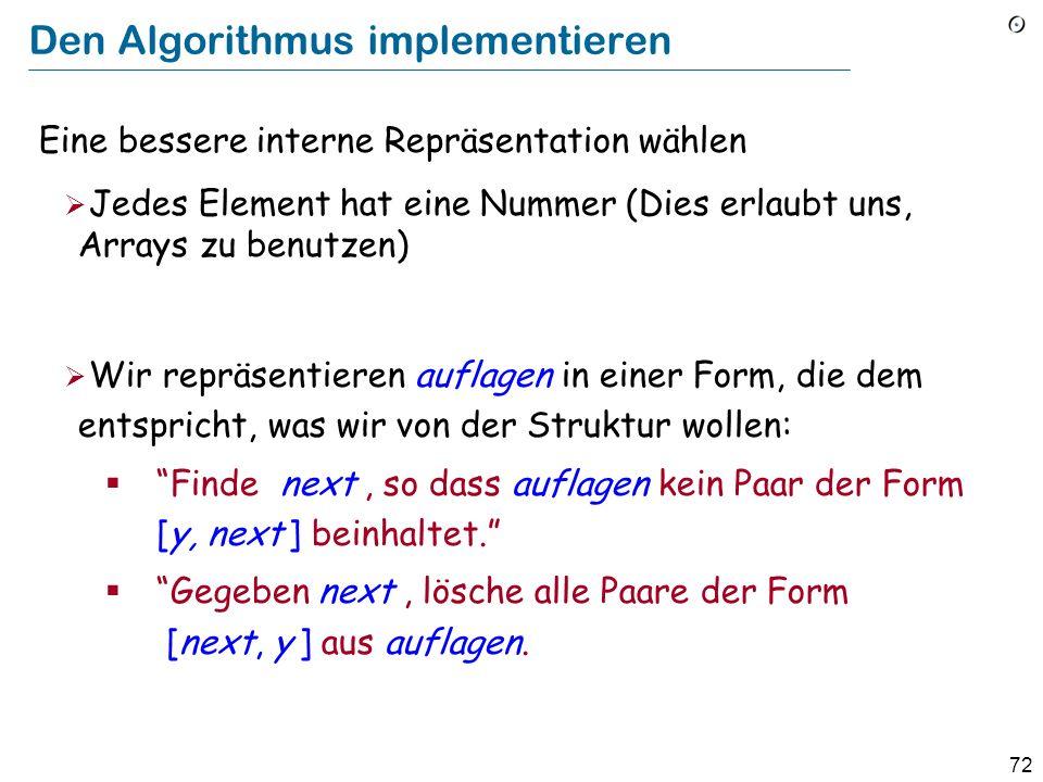 72 Den Algorithmus implementieren Eine bessere interne Repräsentation wählen Jedes Element hat eine Nummer (Dies erlaubt uns, Arrays zu benutzen) Wir