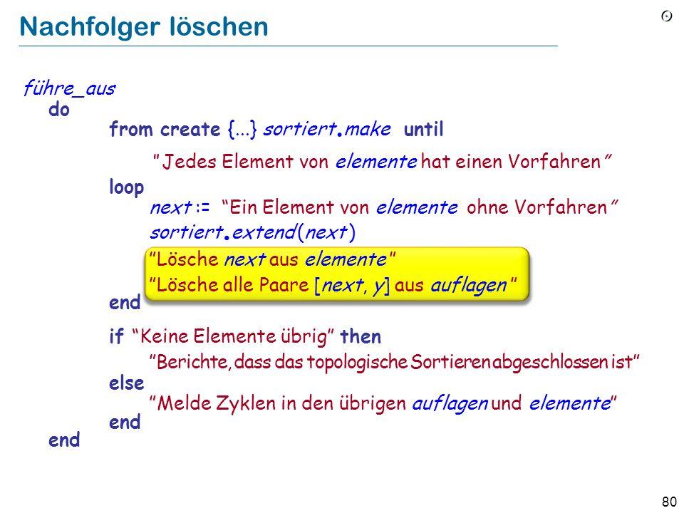 80 Nachfolger löschen führe_aus do from create {...} sortiert. make until Jedes Element von elemente hat einen Vorfahren loop next := Ein Element von
