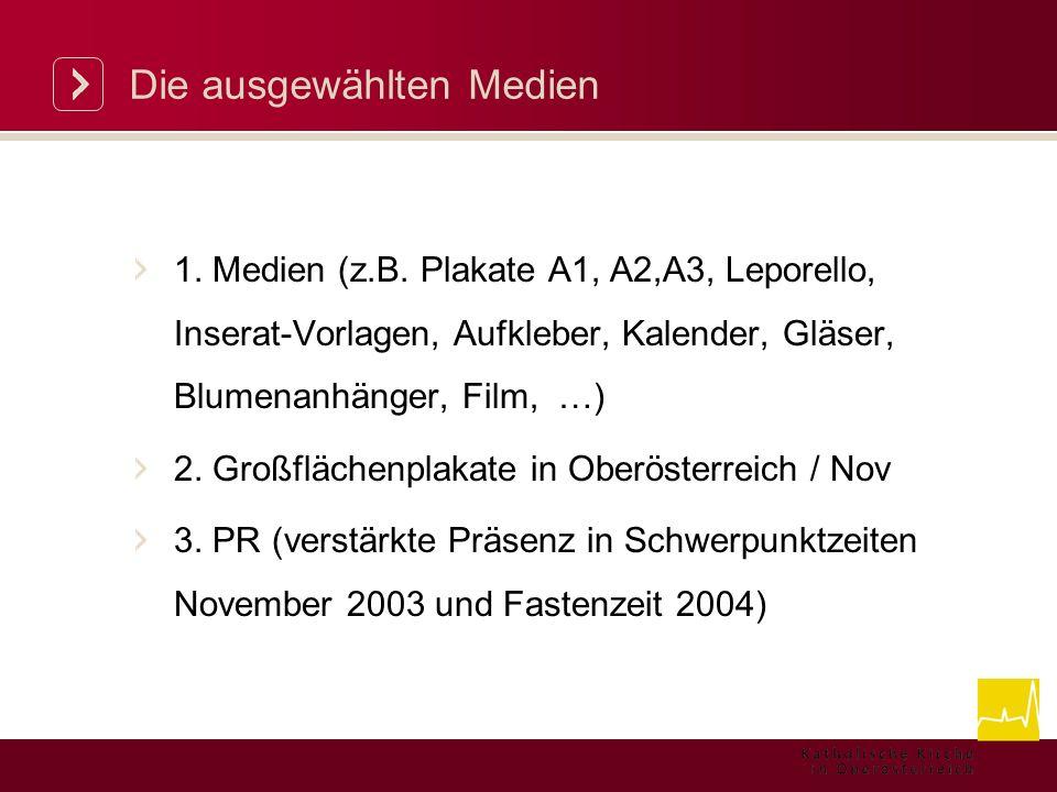 Die ausgewählten Medien 1. Medien (z.B.