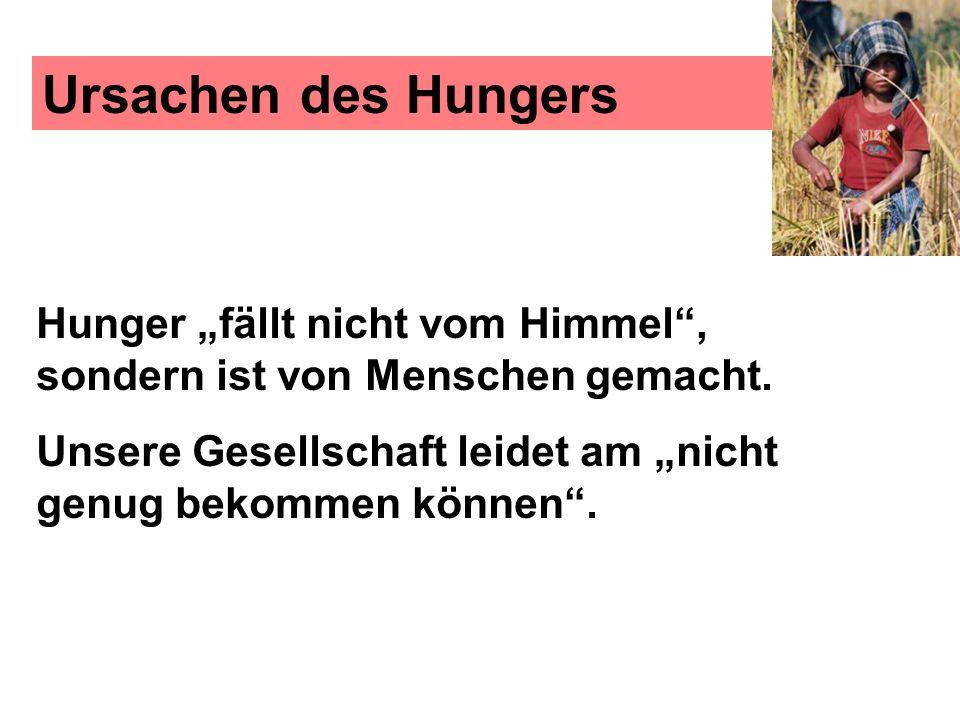 Ursachen des Hungers Hunger fällt nicht vom Himmel, sondern ist von Menschen gemacht. Unsere Gesellschaft leidet am nicht genug bekommen können.