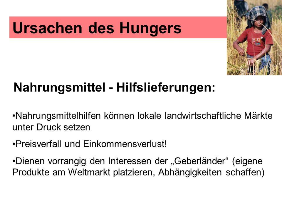 Ursachen des Hungers Nahrungsmittel - Hilfslieferungen: Nahrungsmittelhilfen können lokale landwirtschaftliche Märkte unter Druck setzen Preisverfall