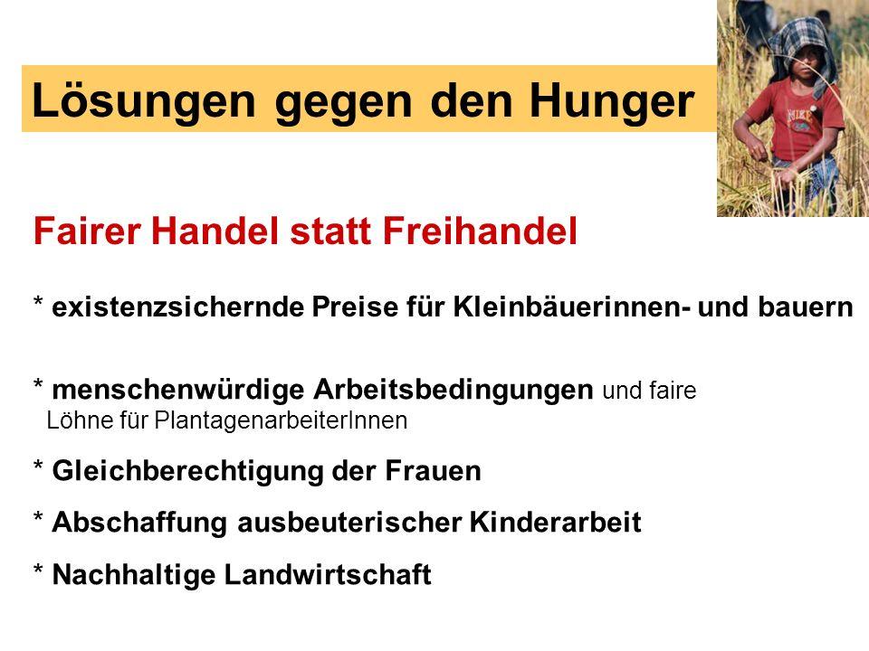 Lösungen gegen den Hunger Fairer Handel statt Freihandel * existenzsichernde Preise für Kleinbäuerinnen- und bauern * menschenwürdige Arbeitsbedingung