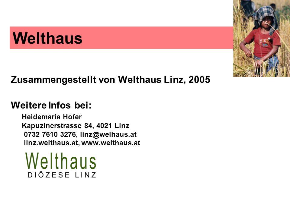 Welthaus Zusammengestellt von Welthaus Linz, 2005 Weitere Infos bei: Heidemaria Hofer Kapuzinerstrasse 84, 4021 Linz 0732 7610 3276, linz@welhaus.at l