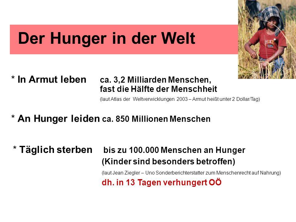 Der Hunger in der Welt * In Armut leben ca. 3,2 Milliarden Menschen, fast die Hälfte der Menschheit (laut Atlas der Weltverwicklungen 2003 – Armut hei