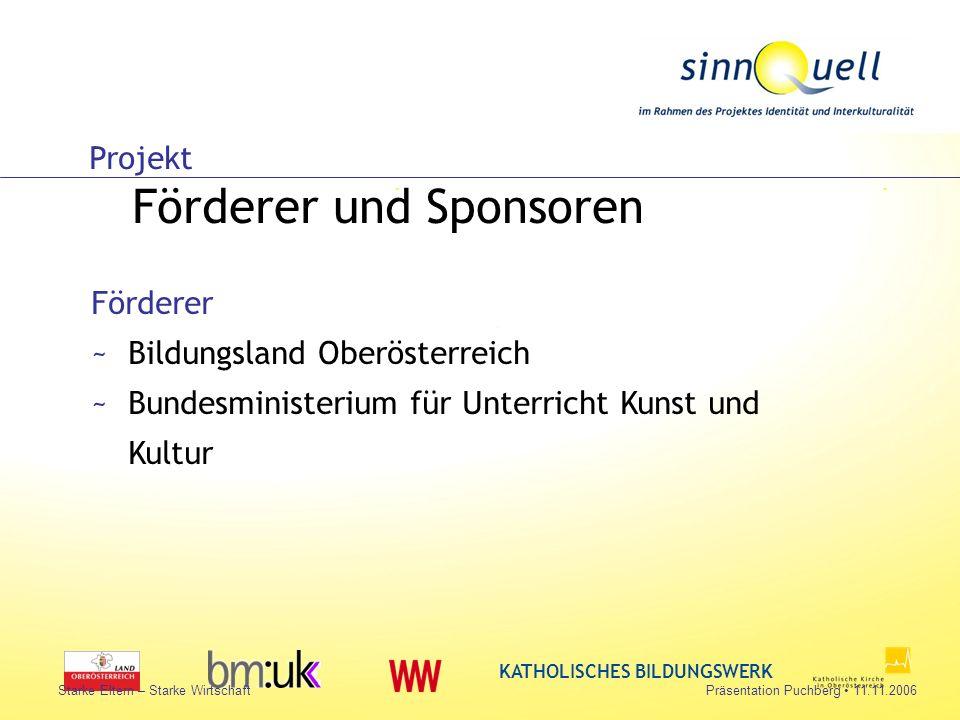 Bettina Huemer KATHOLISCHES BILDUNGSWERK Starke Eltern – Starke WirtschaftPräsentation Puchberg 11.11.2006 Projekt Förderer und Sponsoren Förderer ~Bi