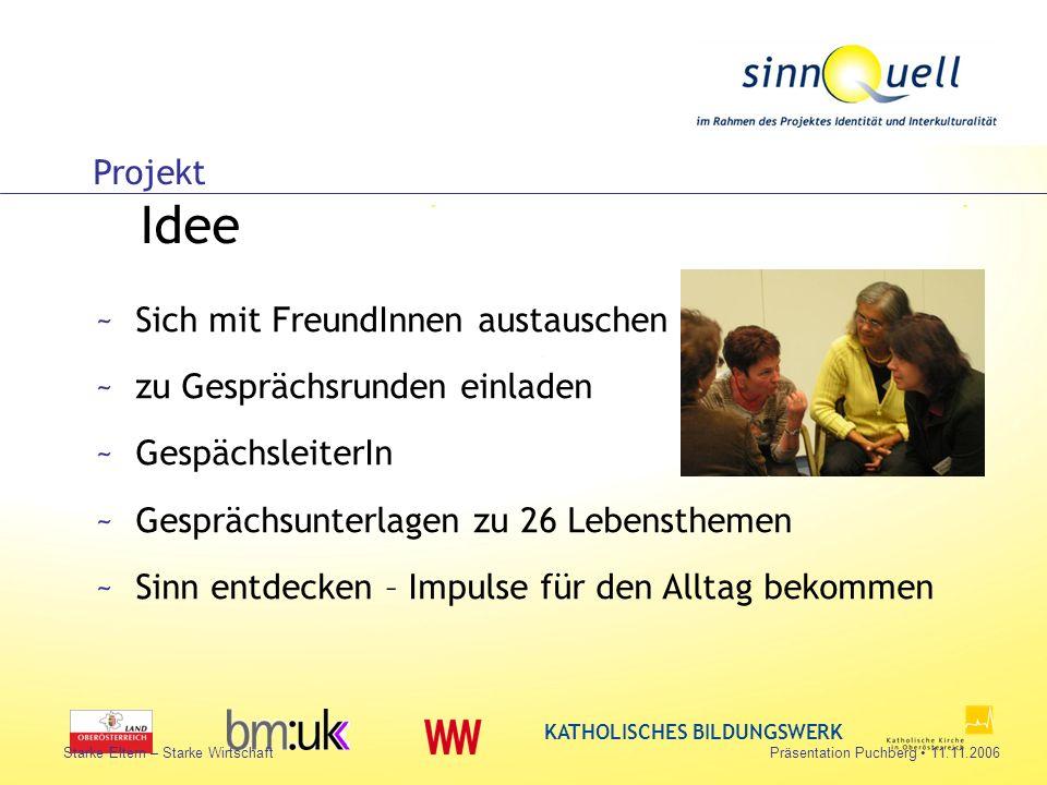 Bettina Huemer KATHOLISCHES BILDUNGSWERK Starke Eltern – Starke WirtschaftPräsentation Puchberg 11.11.2006 Projekt Idee ~Sich mit FreundInnen austausc