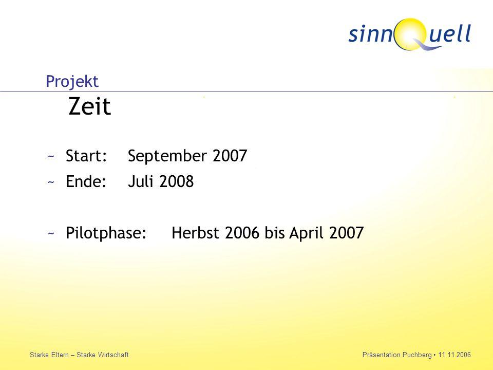 Bettina Huemer Starke Eltern – Starke WirtschaftPräsentation Puchberg 11.11.2006 Projekt Zeit ~Start:September 2007 ~Ende:Juli 2008 ~Pilotphase:Herbst 2006 bis April 2007