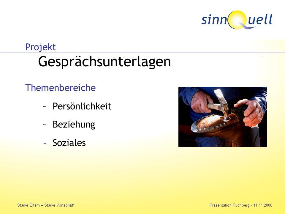 Bettina Huemer Starke Eltern – Starke WirtschaftPräsentation Puchberg 11.11.2006 Projekt Gesprächsunterlagen Themenbereiche ~Persönlichkeit ~Beziehung