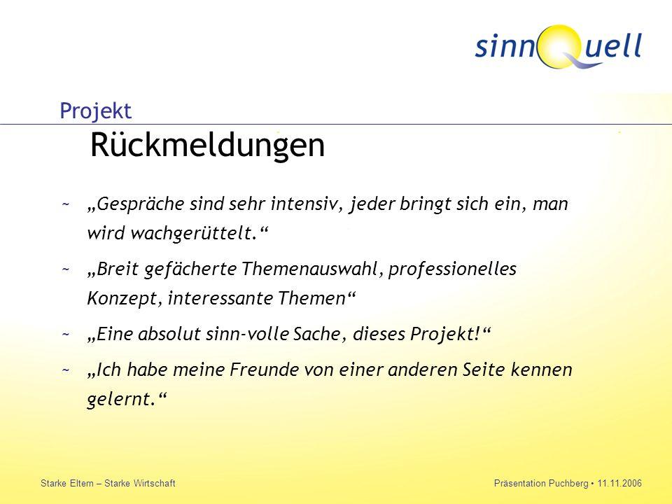 Bettina Huemer Starke Eltern – Starke WirtschaftPräsentation Puchberg 11.11.2006 ~Gespräche sind sehr intensiv, jeder bringt sich ein, man wird wachge