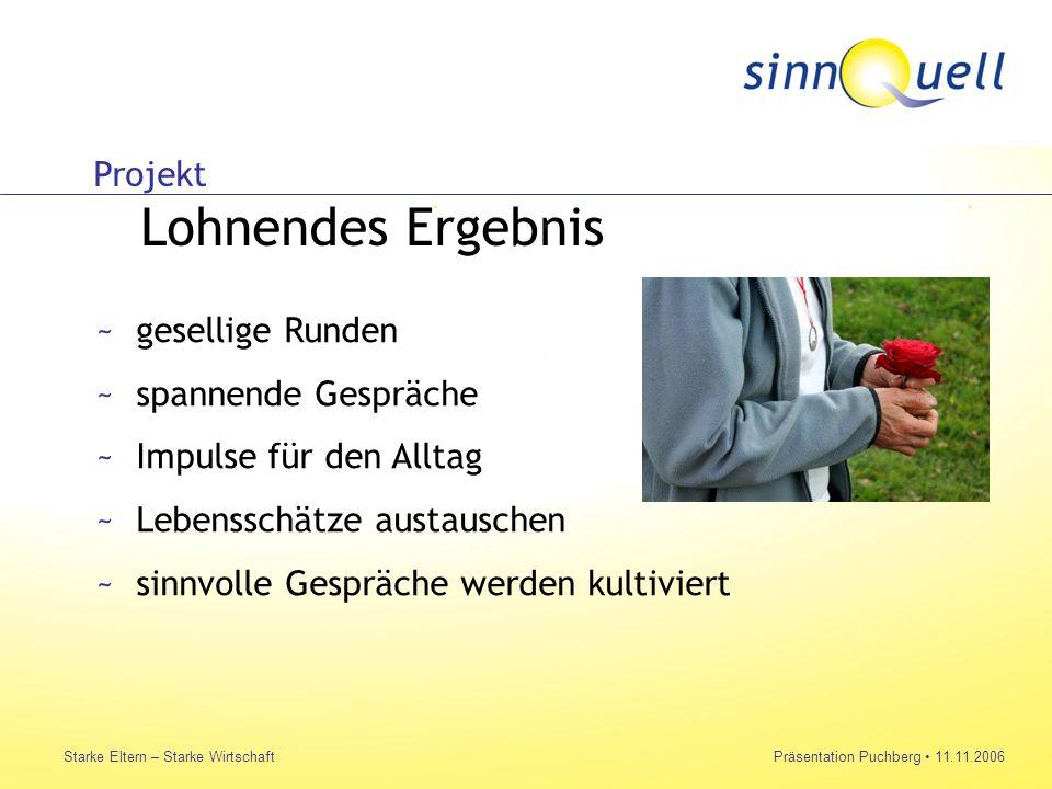 Bettina Huemer Starke Eltern – Starke WirtschaftPräsentation Puchberg 11.11.2006 Projekt Lohnendes Ergebnis ~gesellige Runden ~spannende Gespräche ~Im