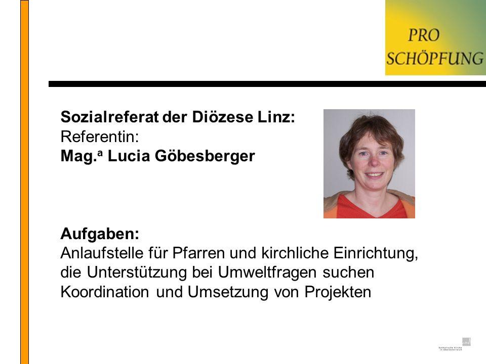 Sozialreferat der Diözese Linz: Referentin: Mag. a Lucia Göbesberger Aufgaben: Anlaufstelle für Pfarren und kirchliche Einrichtung, die Unterstützung