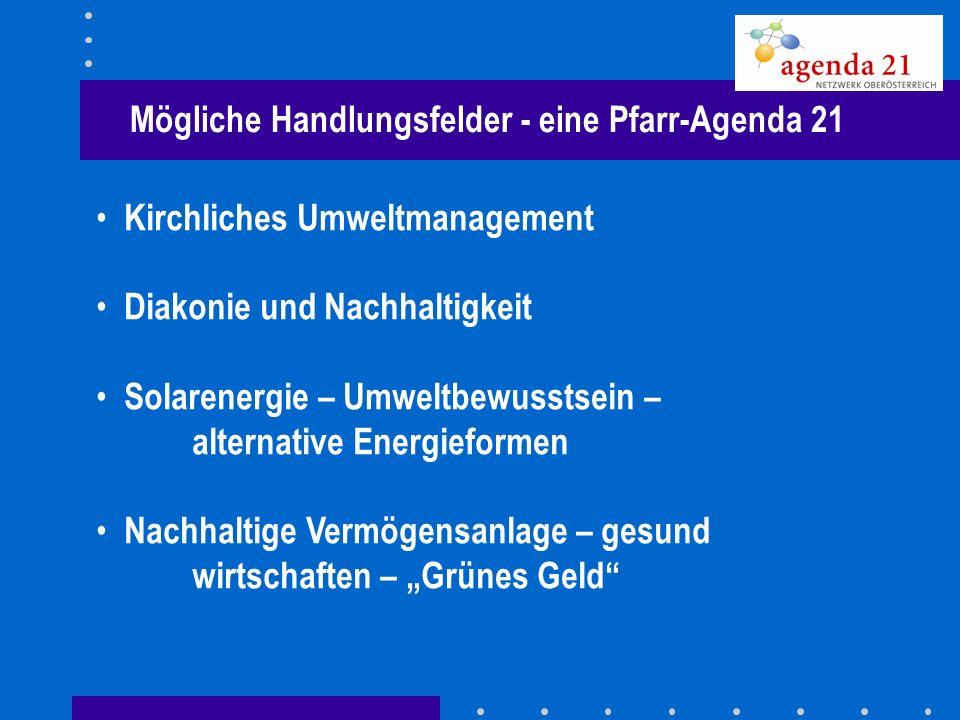 Mögliche Handlungsfelder - eine Pfarr-Agenda 21 Kirchliches Umweltmanagement Diakonie und Nachhaltigkeit Solarenergie – Umweltbewusstsein – alternativ
