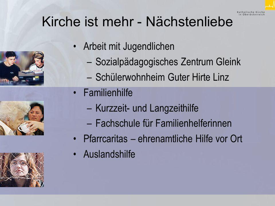 Kirche ist mehr - Nächstenliebe Kindergärten und Logopädische Dienste Altendienste –mobile Altenhilfe –Altenheime –Fachschule für Altendienste und Pflegehilfe Flüchtlings- und Gastarbeiterberatung –Regionale Beratungsstellen –Integrationsprojekt PARAPLÜ –Flüchtlingsheim Hilfe für Gestrandete –Obdachlosenprojekt in Asten –Wärmestube in Linz –Wohngemeinschaft für Haftentlassene in Wels