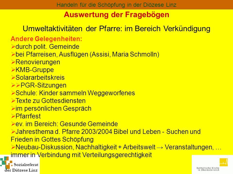 Sozialreferat der Diözese Linz Handeln für die Schöpfung in der Diözese Linz Auswertung der Fragebögen Umweltaktivitäten der Pfarre: im Bereich Verkün