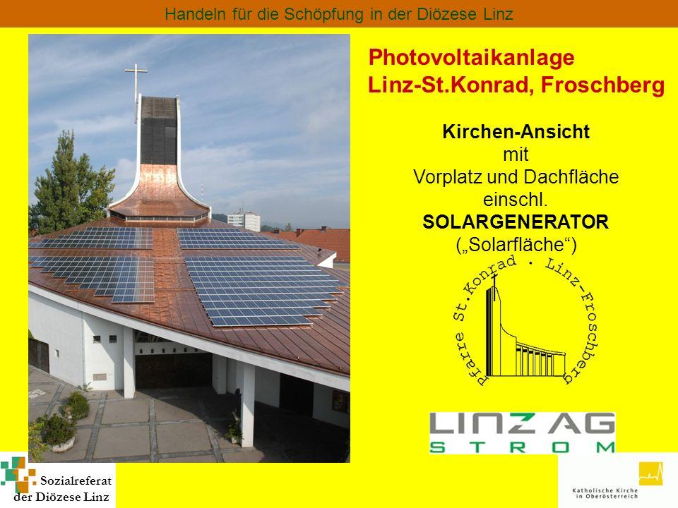 Sozialreferat der Diözese Linz Handeln für die Schöpfung in der Diözese Linz Photovoltaikanlage Linz-St.Konrad, Froschberg Kirchen-Ansicht mit Vorplat