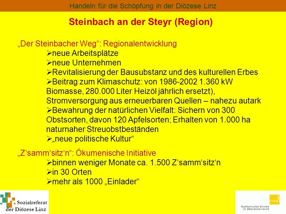 Sozialreferat der Diözese Linz Handeln für die Schöpfung in der Diözese Linz Steinbach an der Steyr (Region) Der Steinbacher Weg: Regionalentwicklung
