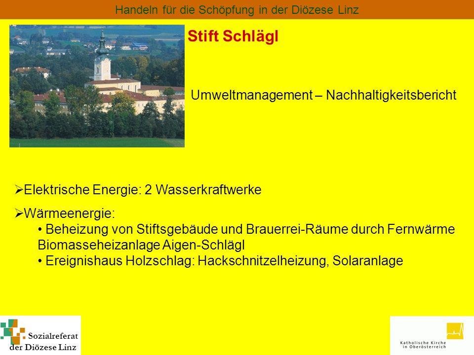 Sozialreferat der Diözese Linz Handeln für die Schöpfung in der Diözese Linz Stift Schlägl Umweltmanagement – Nachhaltigkeitsbericht Elektrische Energ
