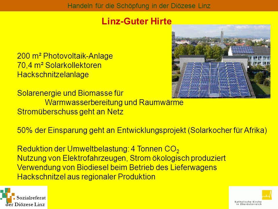 Sozialreferat der Diözese Linz Handeln für die Schöpfung in der Diözese Linz Linz-Guter Hirte 200 m² Photovoltaik-Anlage 70,4 m² Solarkollektoren Hack