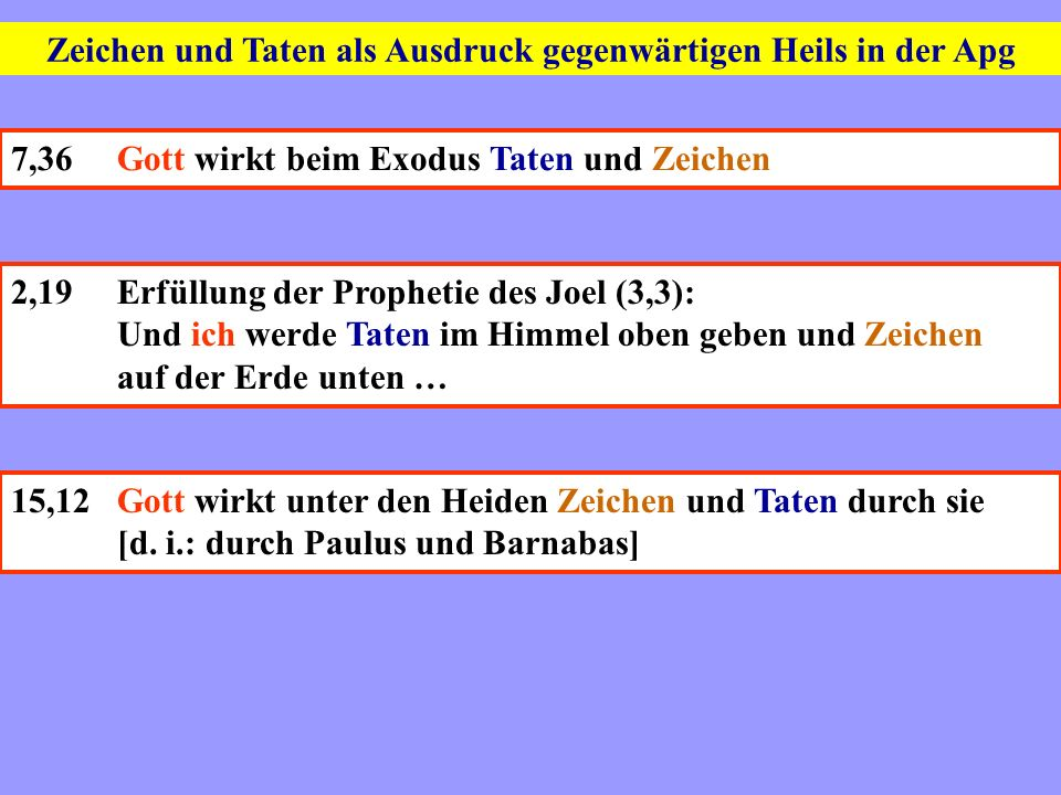Zeichen und Taten als Ausdruck gegenwärtigen Heils in der Apg 7,36Gott wirkt beim Exodus Taten und Zeichen 2,19Erfüllung der Prophetie des Joel (3,3):