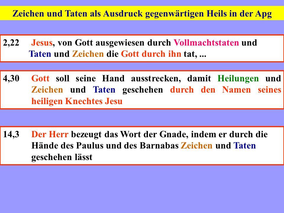 Zeichen und Taten als Ausdruck gegenwärtigen Heils in der Apg 2,22Jesus, von Gott ausgewiesen durch Vollmachtstaten und Taten und Zeichen die Gott dur