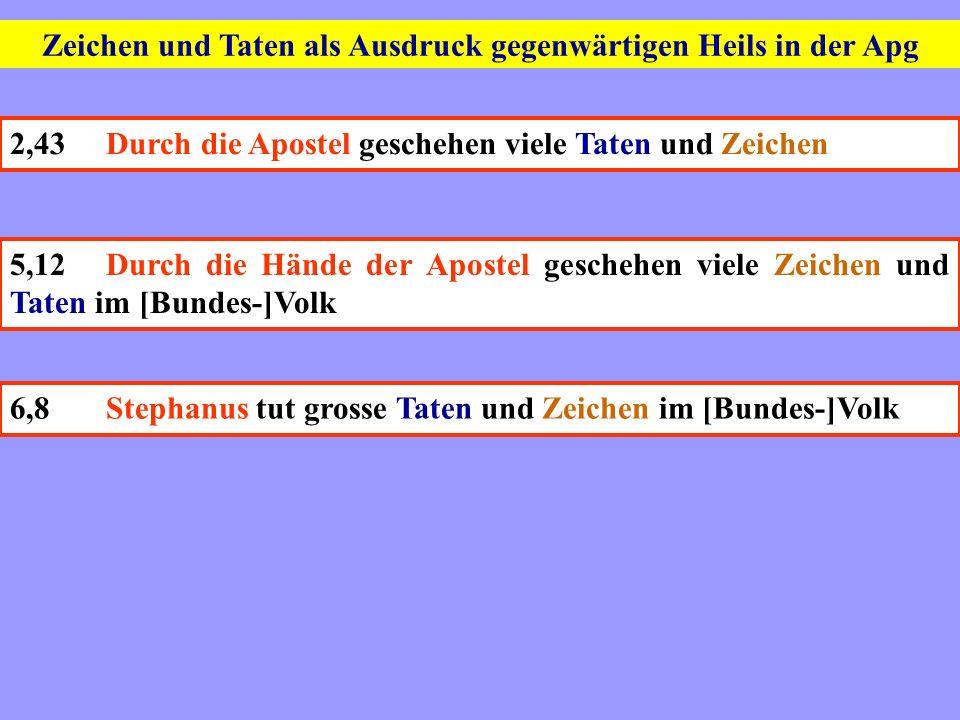 Zeichen und Taten als Ausdruck gegenwärtigen Heils in der Apg 2,43Durch die Apostel geschehen viele Taten und Zeichen 5,12Durch die Hände der Apostel