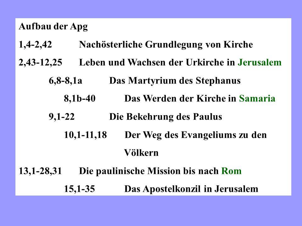 Aufbau der Apg 1,4-2,42Nachösterliche Grundlegung von Kirche 2,43-12,25Leben und Wachsen der Urkirche in Jerusalem 6,8-8,1aDas Martyrium des Stephanus 8,1b-40 Das Werden der Kirche in Samaria 9,1-22Die Bekehrung des Paulus 10,1-11,18 Der Weg des Evangeliums zu den Völkern 13,1-28,31Die paulinische Mission bis nach Rom 15,1-35 Das Apostelkonzil in Jerusalem