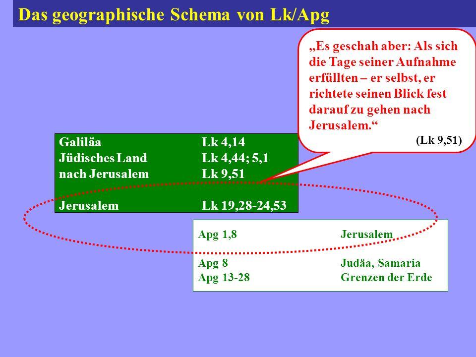 Das geographische Schema von Lk/Apg GaliläaLk 4,14 Jüdisches LandLk 4,44; 5,1 nach JerusalemLk 9,51 JerusalemLk 19,28-24,53 Apg 1,8Jerusalem Apg 8Judäa, Samaria Apg 13-28Grenzen der Erde Es geschah aber: Als sich die Tage seiner Aufnahme erfüllten – er selbst, er richtete seinen Blick fest darauf zu gehen nach Jerusalem.