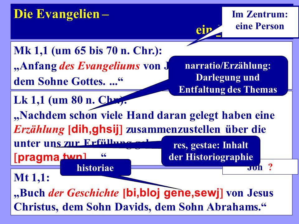 Die Evangelien – ein Evangelium? Mk 1,1 (um 65 bis 70 n. Chr.): Anfang des Evangeliums von Jesus Christus, dem Sohne Gottes.... Lk 1,1 (um 80 n. Chr.)