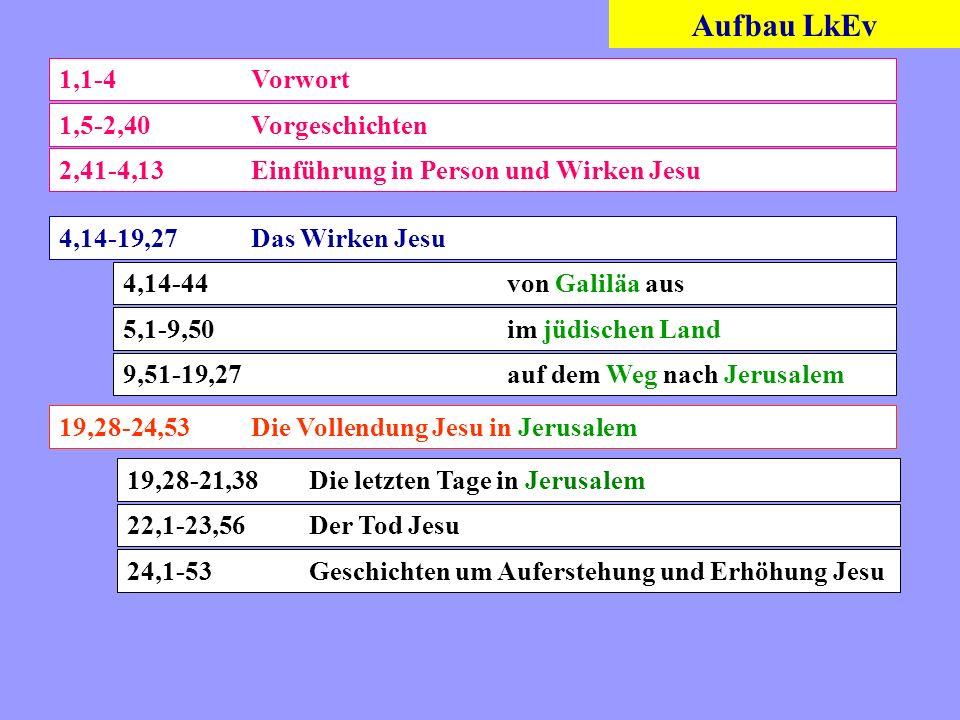 Aufbau LkEv 1,1-4Vorwort 1,5-2,40Vorgeschichten 2,41-4,13 Einführung in Person und Wirken Jesu 4,14-19,27Das Wirken Jesu 4,14-44von Galiläa aus 5,1-9,