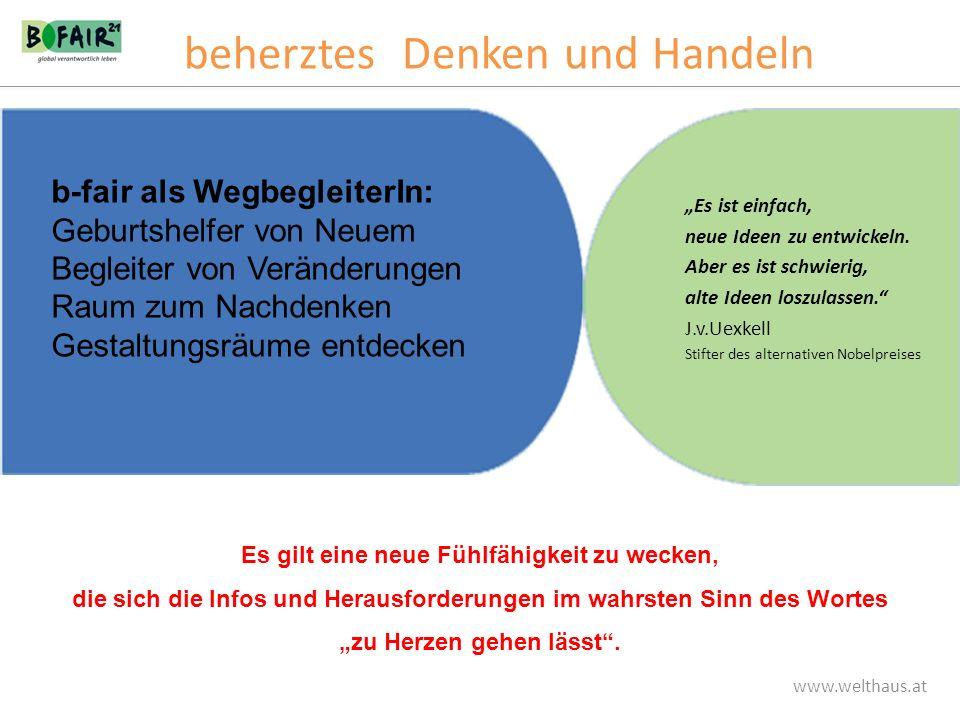 www.welthaus.at Es ist einfach, neue Ideen zu entwickeln. Aber es ist schwierig, alte Ideen loszulassen. J.v.Uexkell Stifter des alternativen Nobelpre