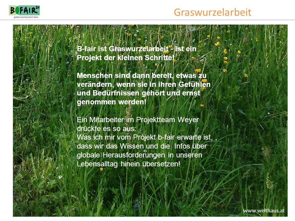 Graswurzelarbeit www.welthaus.at B-fair ist Graswurzelarbeit - ist ein Projekt der kleinen Schritte! Menschen sind dann bereit, etwas zu verändern, we