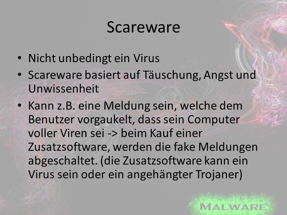Scareware Nicht unbedingt ein Virus Scareware basiert auf Täuschung, Angst und Unwissenheit Kann z.B. eine Meldung sein, welche dem Benutzer vorgaukel