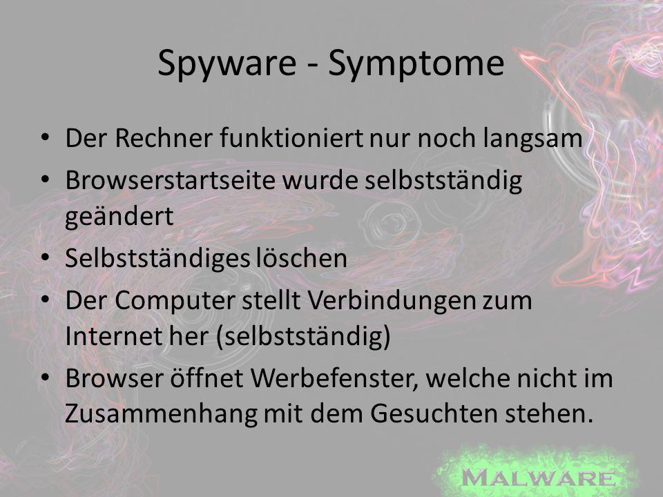 Spyware - Symptome Der Rechner funktioniert nur noch langsam Browserstartseite wurde selbstständig geändert Selbstständiges löschen Der Computer stell