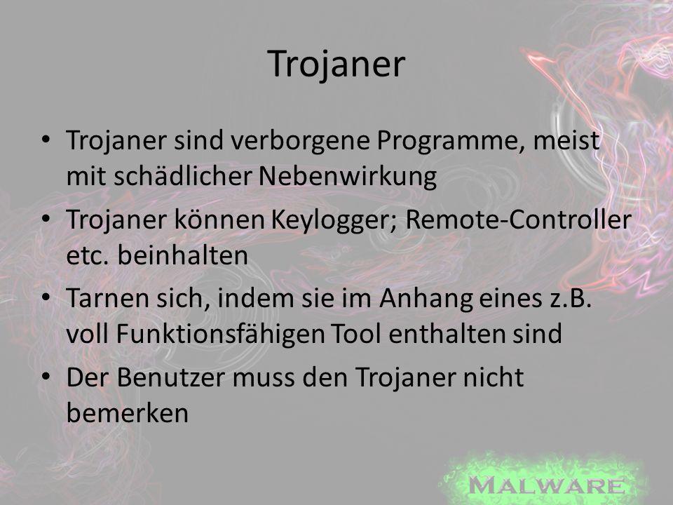 Trojaner Trojaner sind verborgene Programme, meist mit schädlicher Nebenwirkung Trojaner können Keylogger; Remote-Controller etc. beinhalten Tarnen si