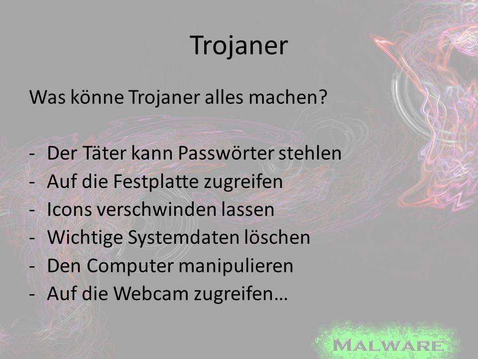 Trojaner Was könne Trojaner alles machen? -Der Täter kann Passwörter stehlen -Auf die Festplatte zugreifen -Icons verschwinden lassen -Wichtige System
