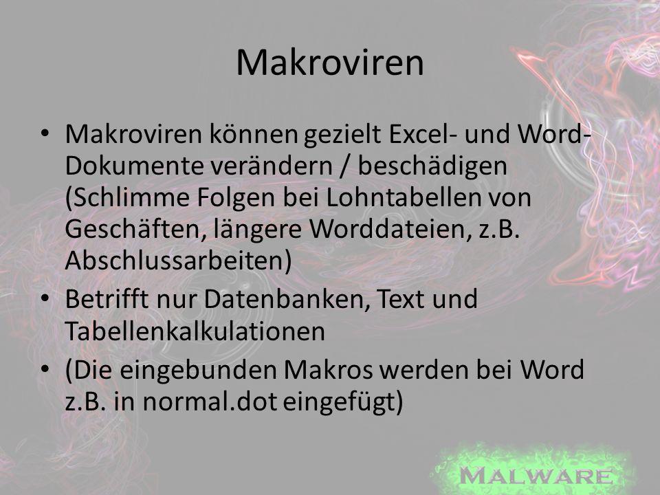 Makroviren Makroviren können gezielt Excel- und Word- Dokumente verändern / beschädigen (Schlimme Folgen bei Lohntabellen von Geschäften, längere Word