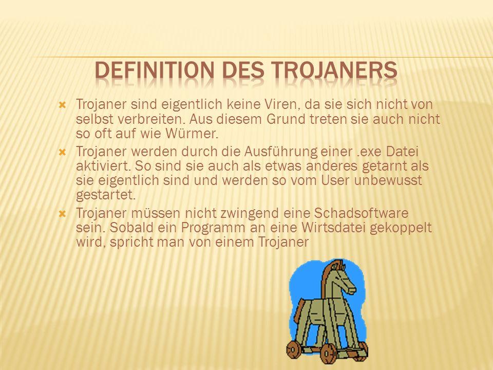 Trojaner sind eigentlich keine Viren, da sie sich nicht von selbst verbreiten.