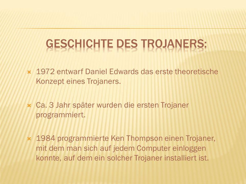1972 entwarf Daniel Edwards das erste theoretische Konzept eines Trojaners.