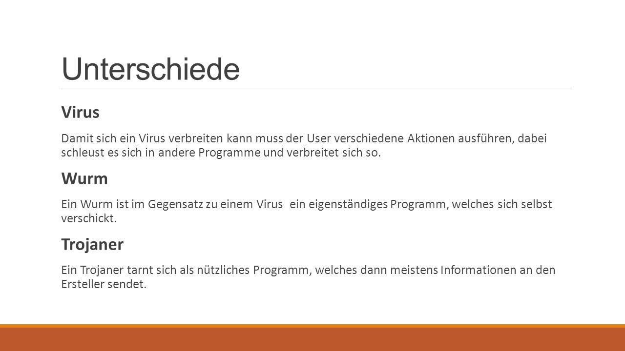 Unterschiede Virus Damit sich ein Virus verbreiten kann muss der User verschiedene Aktionen ausführen, dabei schleust es sich in andere Programme und