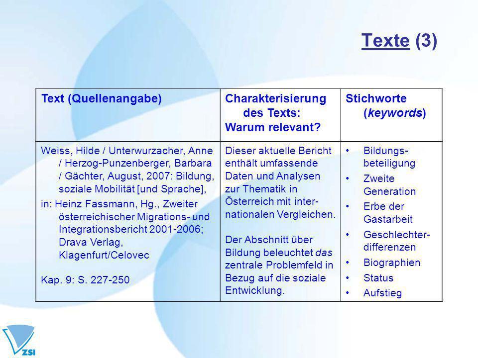 Texte (3) Text (Quellenangabe)Charakterisierung des Texts: Warum relevant? Stichworte (keywords) Weiss, Hilde / Unterwurzacher, Anne / Herzog-Punzenbe