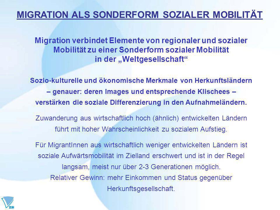 Migration verbindet Elemente von regionaler und sozialer Mobilität zu einer Sonderform sozialer Mobilität in der Weltgesellschaft Sozio-kulturelle und