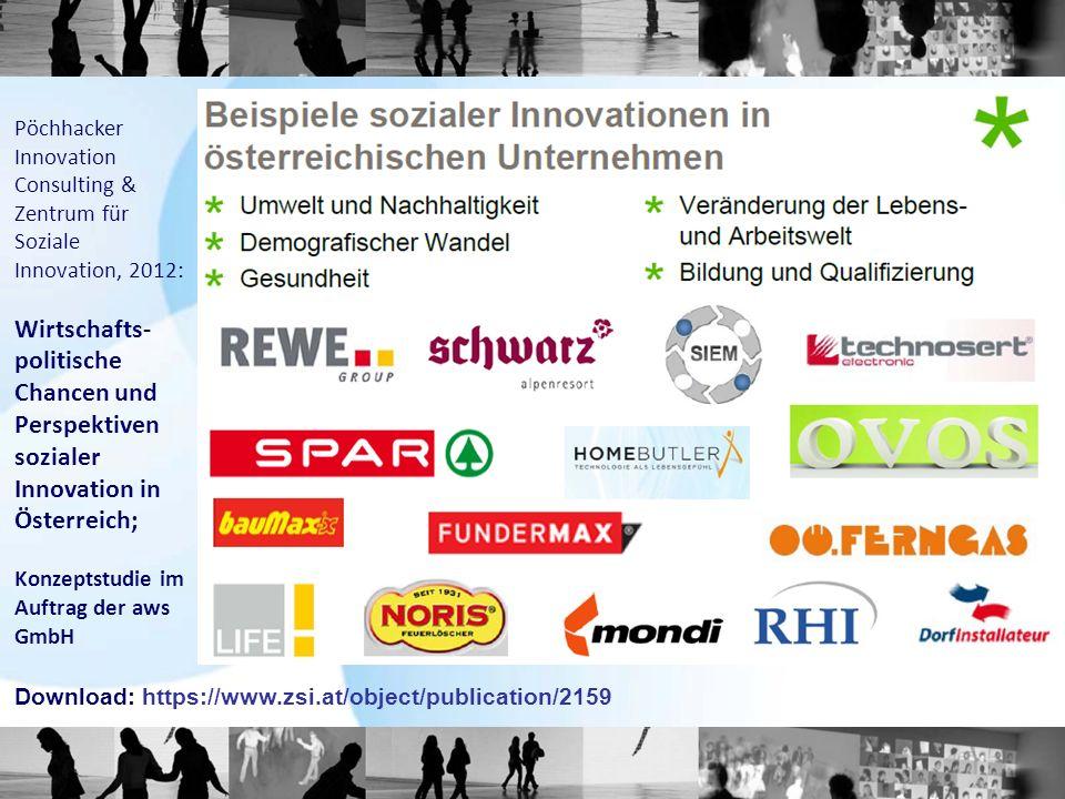 Pöchhacker Innovation Consulting & Zentrum für Soziale Innovation, 2012: Wirtschafts- politische Chancen und Perspektiven sozialer Innovation in Öster