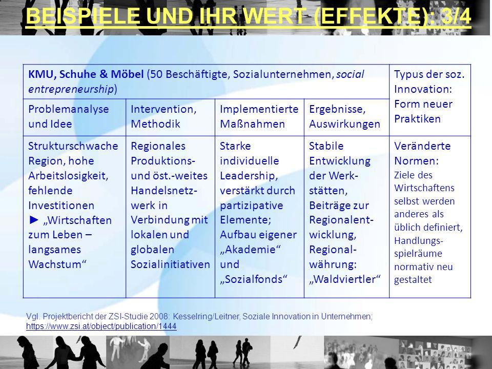 KMU, Schuhe & Möbel (50 Beschäftigte, Sozialunternehmen, social entrepreneurship) Typus der soz. Innovation: Form neuer Praktiken Problemanalyse und I