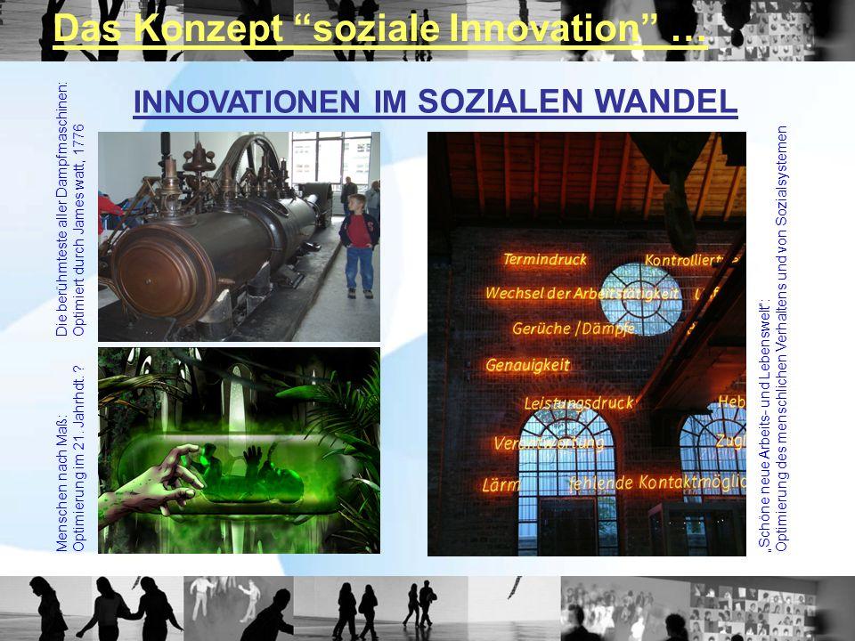 INNOVATIONEN IM SOZIALEN WANDEL Die berühmteste aller Dampfmaschinen:Optimiert durch James watt, 1776 Menschen nach Maß:Optimierung im 21. Jahrhdt. ?