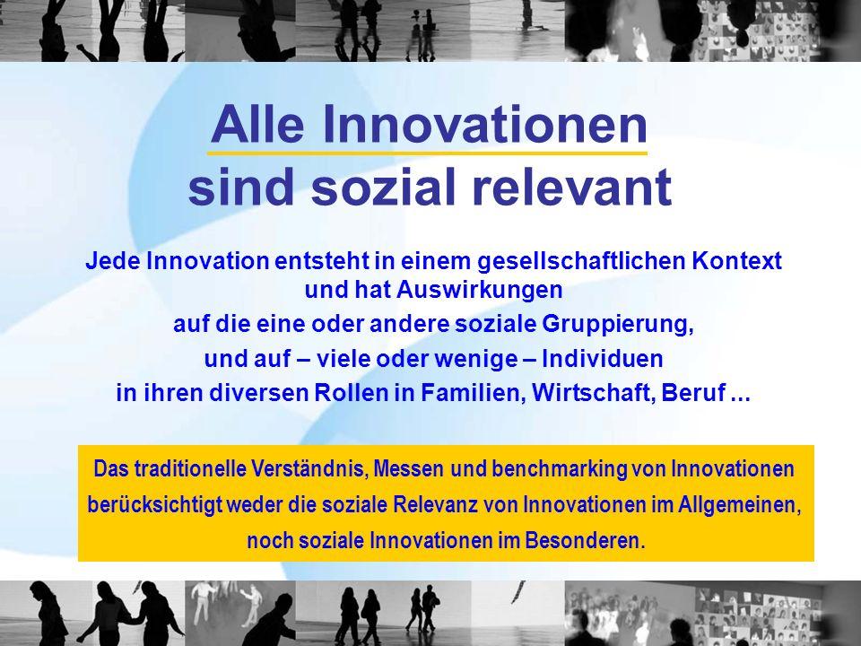 Alle Innovationen sind sozial relevant Jede Innovation entsteht in einem gesellschaftlichen Kontext und hat Auswirkungen auf die eine oder andere sozi