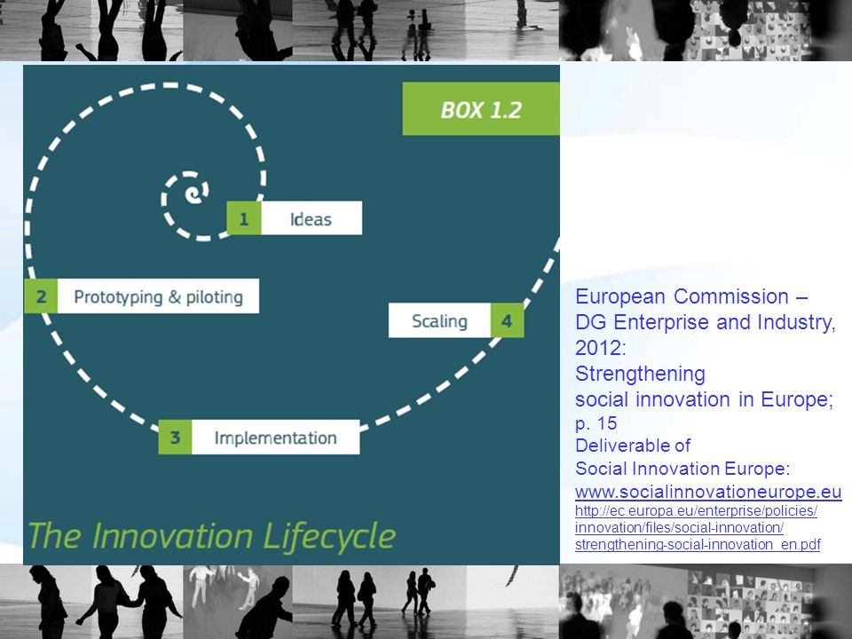 European Commission – DG Enterprise and Industry, 2012: Strengthening social innovation in Europe; p. 15 Deliverable of Social Innovation Europe: www.