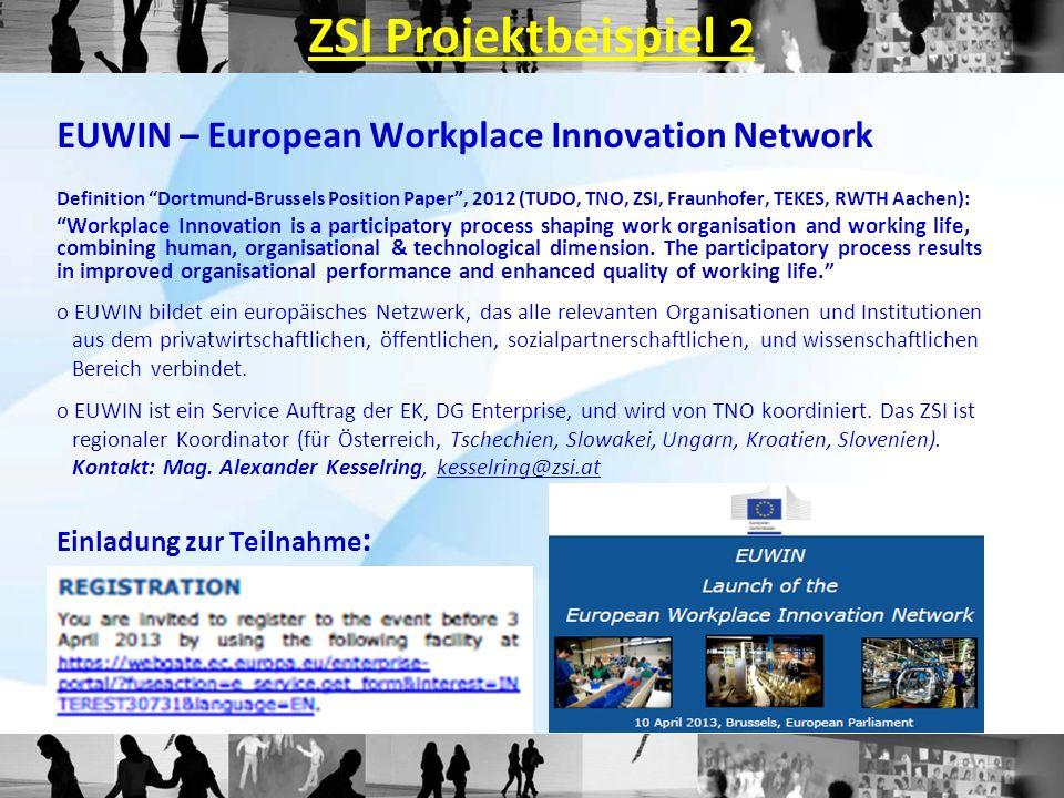 ZSI Projektbeispiel 2 EUWIN – European Workplace Innovation Network Definition Dortmund-Brussels Position Paper, 2012 (TUDO, TNO, ZSI, Fraunhofer, TEKES, RWTH Aachen): Workplace Innovation is a participatory process shaping work organisation and working life, combining human, organisational & technological dimension.