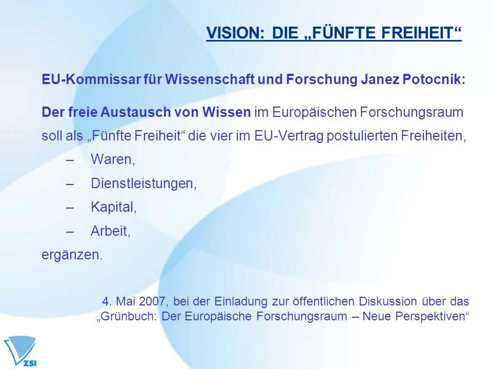 VISION: DIE FÜNFTE FREIHEIT EU-Kommissar für Wissenschaft und Forschung Janez Potocnik: Der freie Austausch von Wissen im Europäischen Forschungsraum soll als Fünfte Freiheit die vier im EU-Vertrag postulierten Freiheiten, –Waren, –Dienstleistungen, –Kapital, –Arbeit, ergänzen.