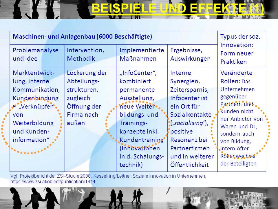 Maschinen- und Anlagenbau (6000 Beschäftigte)Typus der soz. Innovation: Form neuer Praktiken Problemanalyse und Idee Intervention, Methodik Implementi