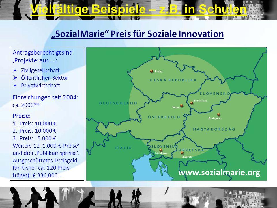 SozialMarie Preis für Soziale Innovation Antragsberechtigt sind Projekte aus...: Zivilgesellschaft Öffentlicher Sektor Privatwirtschaft Einreichungen
